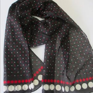 Cejon Scarf Black Red White Polka Dots Sheer Poly